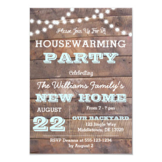 Barnwood beleuchtet Aquahousewarming-Einladungen Karte
