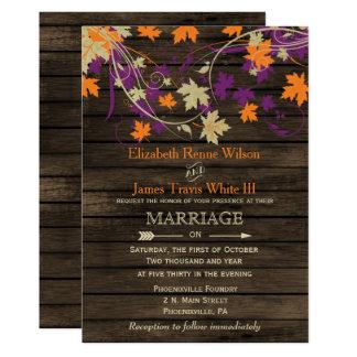 Barnwood, rustikale Fall-Pflaume verlässt Hochzeit 12,7 X 17,8 Cm Einladungskarte