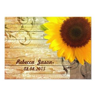 barnwood Sonnenblumehochzeits-Landhochzeit 11,4 X 15,9 Cm Einladungskarte