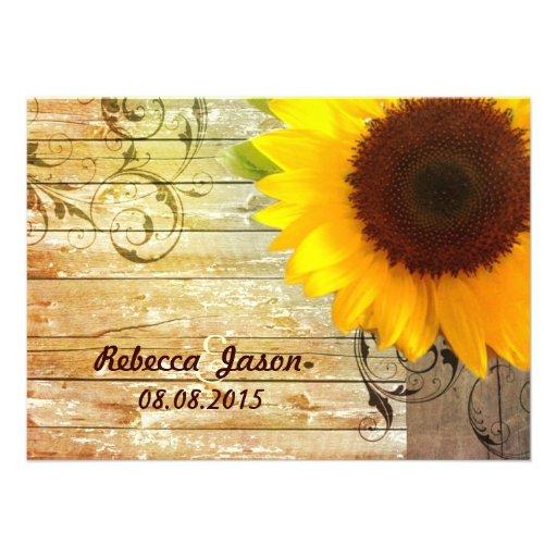 barnwood Sonnenblumehochzeits-Landhochzeit Ankündigung