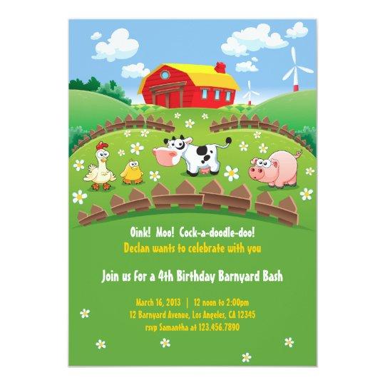 Barnyard Bauernhof Kindergeburtstag Einladungen 12,7 X 17,8 Cm  Einladungskarte