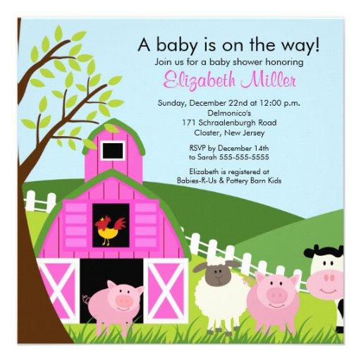 Barnyard-Tier-Babyparty-Einladung für Mädchen