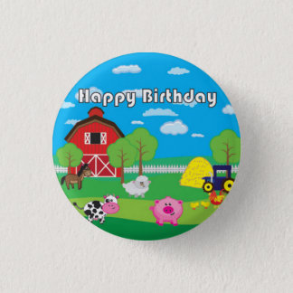 Barnyard-Tier - Bauernhof - Geburtstags-Party - Runder Button 3,2 Cm