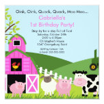 Barnyard-Tierspaß-Geburtstags-Party-Rosa-Mädchen Individuelle Einladung