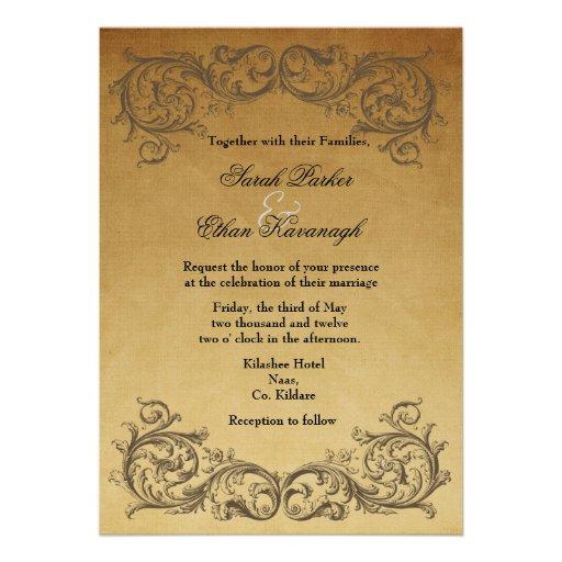 Barocke antike Hochzeitseinladung Personalisierte Einladungskarte