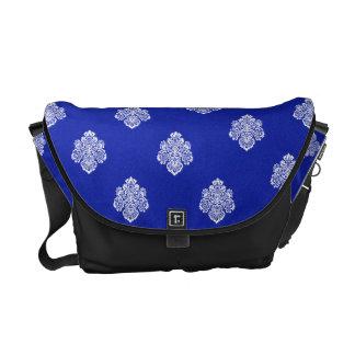 Barocke blaue weiße Verzierung der Bote-Tasche Kurier Taschen