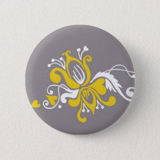 Barocke Blume auf Grau Runder Button 5,7 Cm