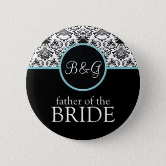 Barocker Eleganz-Vater des Braut-Aqua Runder Button 5,7 Cm