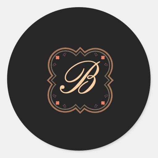Barocker Entwurf auf Schwarzem Sticker