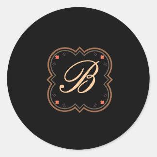 Barocker Entwurf auf Schwarzem Runder Aufkleber