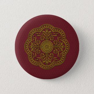 Barockes Art-Medaillon im antiken Gold Runder Button 5,7 Cm