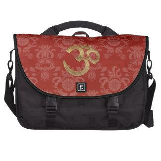 Barockes Gold OM des roten Damastes der Pendler-La Laptop Tasche