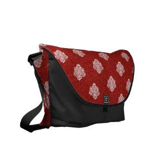 Barockes rotes weißes Muster Bote Courrier Tasche Kurier Tasche