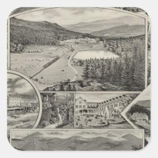 Barron u. Merrills weiße Gebirgshäuser, NH Quadratischer Aufkleber