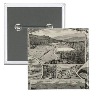 Barron u. Merrills weiße Gebirgshäuser, NH Quadratischer Button 5,1 Cm