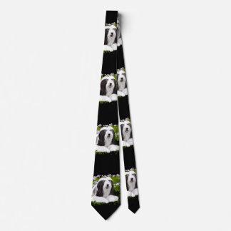 Bärtige Collie-Malerei - niedliche ursprüngliche Bedruckte Krawatten