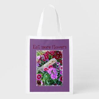 """Bärtiger Drache """"essen mehr Blumen"""" Wiederverwendbare Einkaufstasche"""