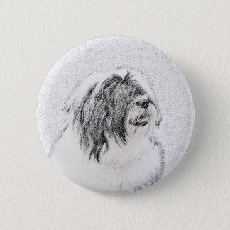 Bärtiger zeichnender Collie - niedliche Runder Button 5,1 Cm