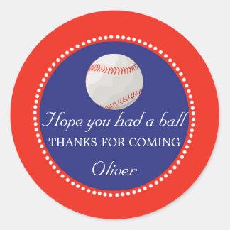 Baseball-Bevorzugungs-Aufkleber danken Ihnen Runder Aufkleber