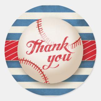 Baseball danken Ihnen Runder Aufkleber