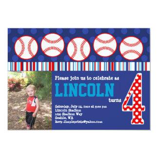 Baseball-Geburtstags-Einladung (4. Geburtstag) Karte