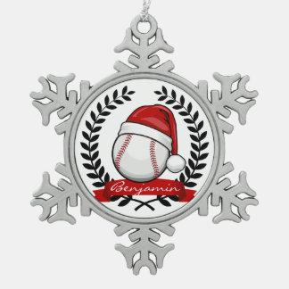Baseball mit einer schneeflocken Zinn-Ornament