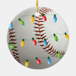 Baseball mit Lichtfeiertagsverzierung Keramik Ornament