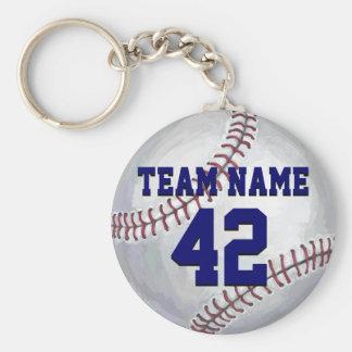 Baseball mit Namen und Zahl Schlüsselanhänger