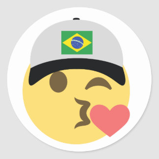 Baseball-Mütze Brasiliens Emoji Runder Aufkleber