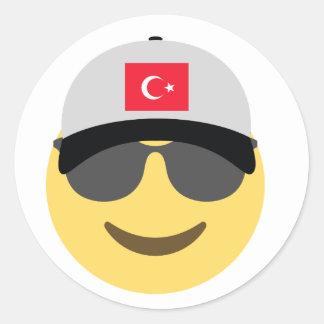 Baseball-Mütze der Türkei Emoji Runder Aufkleber