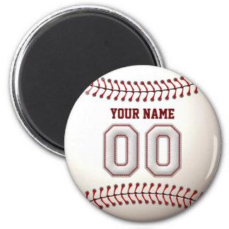 Baseball näht Spieler Nr. 00 und individuellen Runder Magnet 5,7 Cm