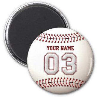 Baseball näht Spieler Nr. 3 und individuellen Runder Magnet 5,1 Cm