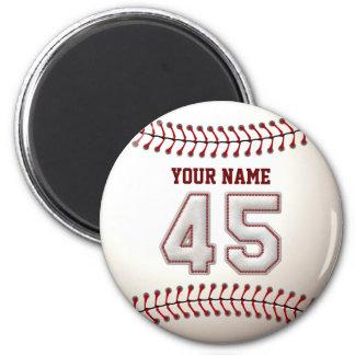 Baseball näht Spieler Nr. 45 und individuellen Runder Magnet 5,1 Cm