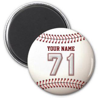 Baseball näht Spieler Nr. 71 und individuellen Runder Magnet 5,7 Cm
