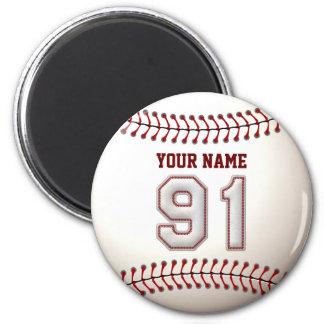 Baseball näht Spieler Nr. 91 und individuellen Runder Magnet 5,7 Cm