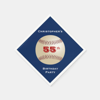 Baseball-Papierservietten, 55. Geburtstags-Party Serviette
