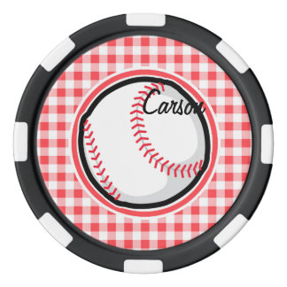 Baseball; Roter und weißer Gingham Poker Chip Set