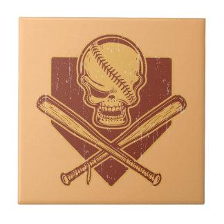 Baseball-Schädel-u. Kreuz-Schläger Keramikfliese