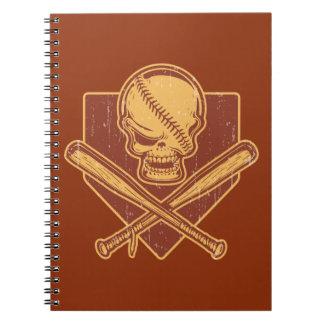 Baseball-Schädel-u. Kreuz-Schläger Spiral Notizblock