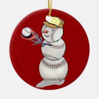 Baseball-Schneemann Keramik Ornament