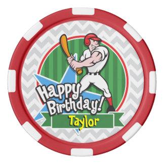Baseball-Spieler auf hellgrauem und weißem Poker Chips