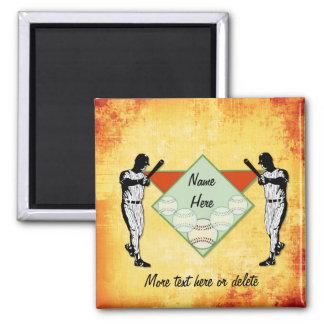 Baseball-Spieler - fertigen Sie besonders an Quadratischer Magnet