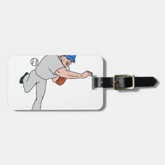 Baseball-Spieler-Krugthrow-Ball-Cartoon Gepäckanhänger