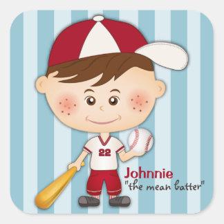 Baseball-Spieler trägt Aufkleber zur Schau