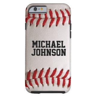 Baseball trägt Beschaffenheit mit personalisiertem Tough iPhone 6 Hülle