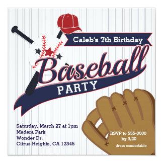 Baseball trägt Button Striped Geburtstags-Party Quadratische 13,3 Cm Einladungskarte