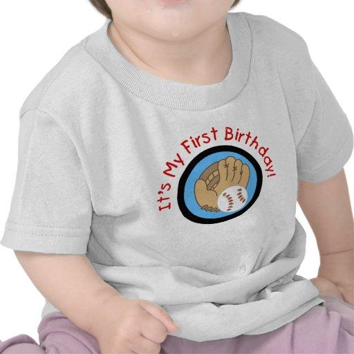 Baseball und Handschuh-1. Geburtstags-T-Shirts und