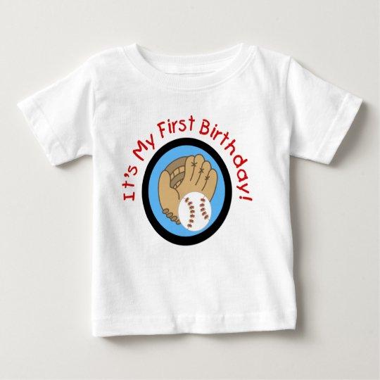 Baseball und Handschuh-1. Geburtstags-T-Shirts und Baby T-shirt
