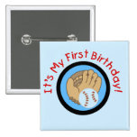 Baseball und Handschuh-1. Geburtstags-T-Shirts und Anstecknadelbuttons
