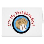 Baseball und Handschuh-1. Geburtstags-T-Shirts und Grußkarte